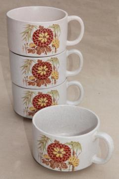 stackable stoneware pottery soup mug bowls w/ cup handles, Japan chrysanthemum & bamboo pattern