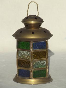Stained glass brass lantern, gypsy style candle lantern made in India