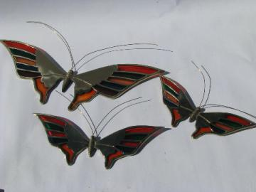 ''Stained glass'' butterflies, retro Enesco wall art plaques, colored lucite & brass