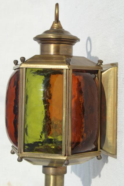 stained glass / solid brass lantern, wall sconce carriage house entry porch light