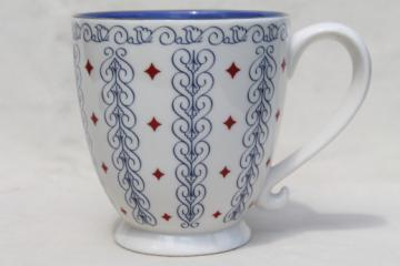 Starbucks barista coffee mug, huge ceramic coffee cup, holiday diamonds pattern