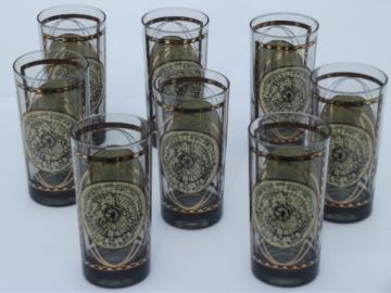 Steampunk bar glasses, retro vintage tumblers w/ antique world map print