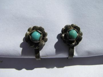 Sterling silver / costume turquoise flowers, screw-back clip earrings, vintage jewelry