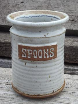 Stoneware pottery spoon holder, 70s 80s vintage kitchen canister jar