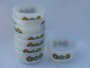 Summerfield flowers, vintage Fire-King kitchen glass custard cups