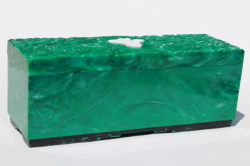 swank vintage Emeraude malachite green plastic dresser box w/ carved design