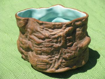 Synar signed pre-Frankoma pottery, rough natural log flower planter