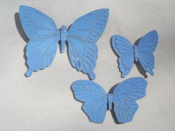 Syroco / Dart plastic wall plaques, retro 60s vintage blue butterflies