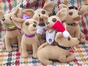 Taco Bell talking Chihuahua dogs lot, Applause stuffed toys