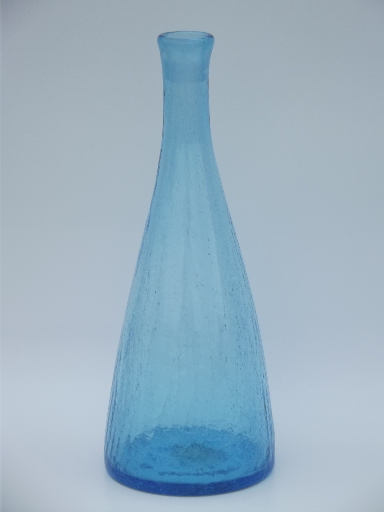 Tall Blue Crackle Glass Wine Decanter Bottle Mid Century Vintage