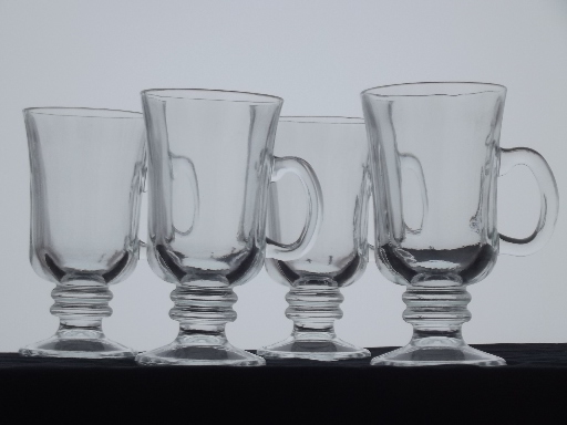 Tall Cups For Irish Coffee Set Of Four Clear Glass Footed