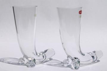 tall drinking horn beer glasses, Svend Jensen Krosno glassware made in Poland