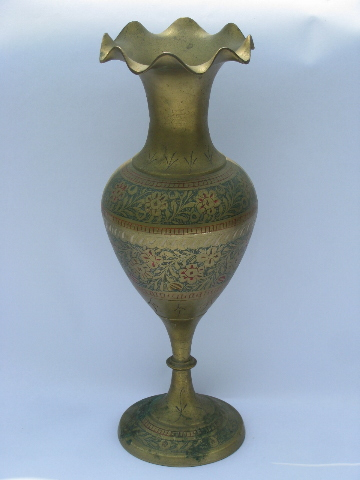 Tall Etched Solid Brass Vase W Tinted Enamel Color Retro Vintage
