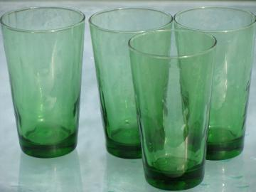 Tall green Libbey glass coolers, vintage mod dots optic glasses