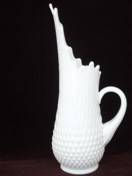 Tall milk glass pitcher, vintage Viking or Fenton hand blown art glass