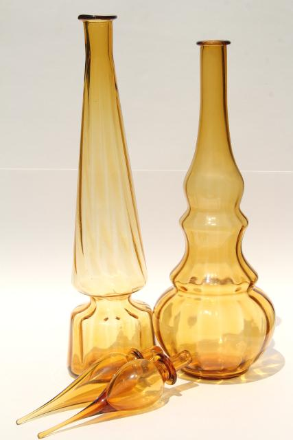 tall mod art glass genie bottle decanters, 60s vintage amber glass bottles w/ stoppers