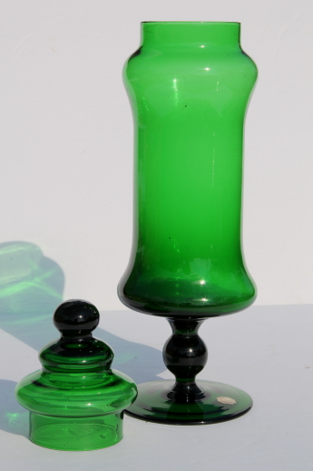 Tall mod green glass bottle, mid-century vintage apothecary canister candy jar