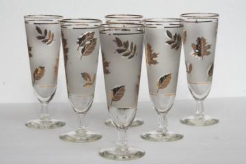 tall pilsner lager beer glasses, vintage Libbey glass Golden Foliage leaf print glasses