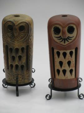 Tall pottery owls, 70s vintage fairy light lamps for pillar candles