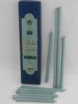 Tall skinny Danish modern candles in vintage Holmblad Denmark box