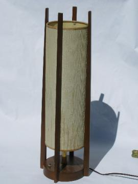 Tall thin mod wood canister lamp, retro 60s danish modern vintage