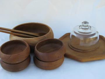 Teak wood salad bowls set, fruit & cheese board w/ glass cover