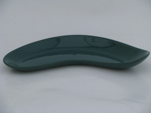 Teal green mod boomerang shape pottery dish, Denby Square - England