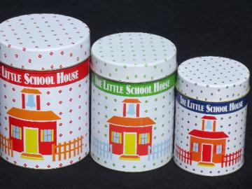 The Little Schoolhouse 80s vintage canister set