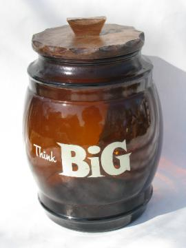 Think Big, large brown glass cookie jar, retro vintage SiestaWare