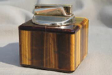 Tigereye stone table lighter, vintage cigarette lighter natural tiger-eye
