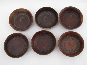 Tiny carved wood wasabi or condiment bowls