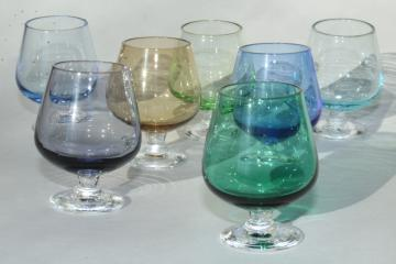 tiny liqueurs or shot glasses, iridescent colored glass brandy snifter bowls w/ clear stems