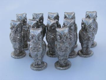 Tiny metal owls, retro vintage name place card holders, set of 12