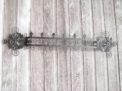 Vintage Metal Wall Art tole garden fence w/ flowers, vintage metal wall art or kitchen