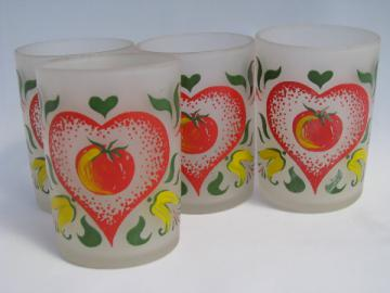Tomato Love vintage juice glasses, retro painted glass tumblers set