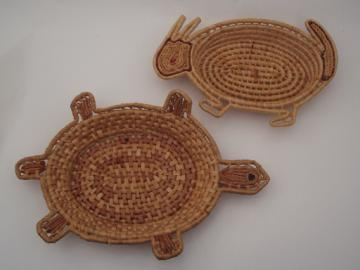 Tortoise and the hare coiled palm leaf basket trays, rabbit and turtle