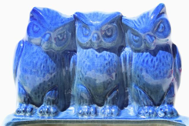 trio of owls retro ceramic planter, vintage pottery flower plant pot