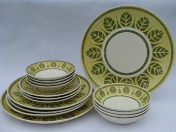 Tropical palm leaf green leaves on yellow mod vintage dishes, Royal ironstone china