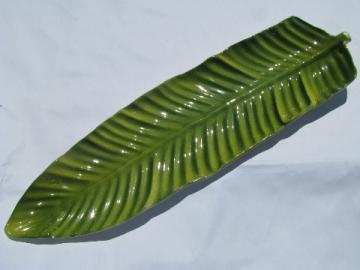 Tropical vintage tiki, long palm leaf ceramic platter, retro California pottery