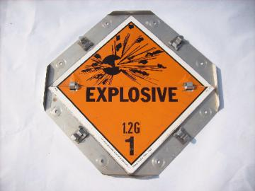 Truck cargo warning flip sign, safety orange Explosive