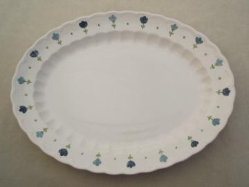 True Blue vintage Metlox Vernon Ware platter, tulip flower border