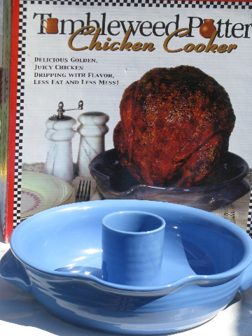 Tumbleweed pottery chicken cooker in original box, never used