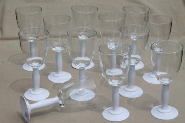 unbreakable plastic stemware set of 12 wine glasses, mod white & lucite goblets