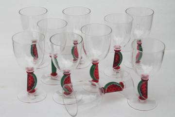 unbreakable plastic stemware watermelon wine glasses, set of 10 lucite goblets