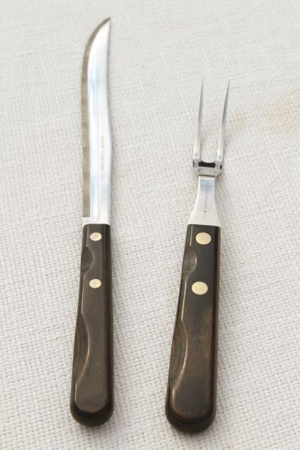 unused 60s 70s vintage Robeson flame edge carving set, knife & fork