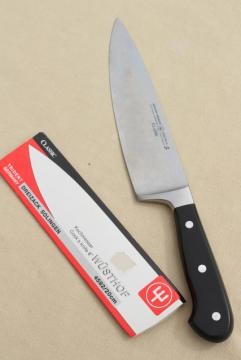 unused vintage Wusthof classic chef cooks knife, all-purpose kitchen blade w/ full tang