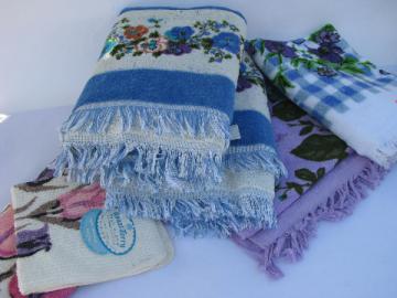 Unused vintage bath towels lot, four towel prints, purple flowers!