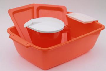 unused vintage plastic bath set & water pitcher, retro bright orange & white