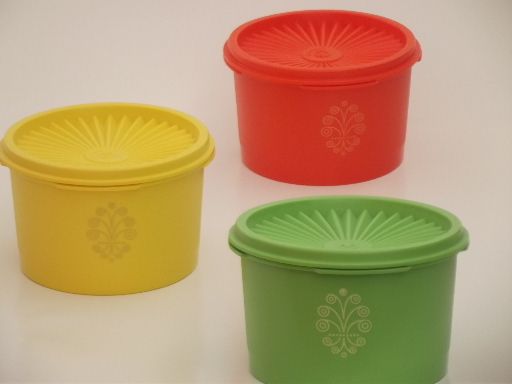 Vintage Bar Cart >> Unused vintage Tupperware canister containers, green, orange, yellow