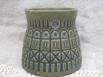 Upsala-Ekeby Sweden label art pottery planter vase, iron fence pattern